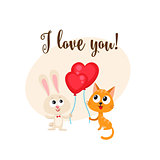 I love you card with bunny, cat, heart shaped balloon