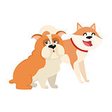Cute, funny dog characters - Japanese akita inu and English bulldog