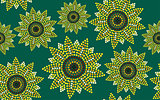 Seamless pattern graphic sunflower green