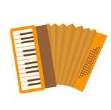 Accordion icon flat, cartoon style. Musical instrument isolated on white background. Vector illustration, clip-art.