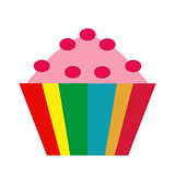 Colorful cupcake. icon flat, cartoon style. Muffins isolated on white background. Vector illustration, clip-art.