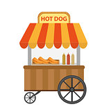 Hot dog street shop, cart. icon flat, cartoon style. Fast food concept isolated on white background. Vector illustration, clip-art.