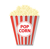 Popcorn. icon flat, cartoon style. Isolated on white background. Vector illustration, clip-art.