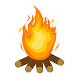 Festa Junina fire. icon flat, cartoon style. Bonfire isolated on white background. Vector illustration, clip-art.
