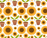 Summer seamless pattern with yellow sunflower flowers. Village endless background, repeating texture. Vector illustration.