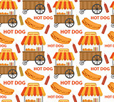 Hot Dog seamless pattern, endless texture. Fast Food repeating background. Vector illustration.