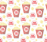 Popcorn seamless pattern, endless texture. Repeating background. Vector illustration.