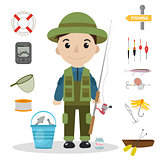 Fishing icon set, flat, cartoon style. Fishery collection objects, design elements, isolated on white background. Fisherman s tools with a fishing rod, tackle, bait, boat. Vector ilustration