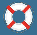 Lifebuoy. icon flat, cartoon style. Isolated on white background. Vector illustration, clip-art.