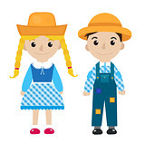 Festa Junina girl and boy in traditional festive costume icon flat, cartoon style. Isolated on white background. Vector illustration, clip-art.