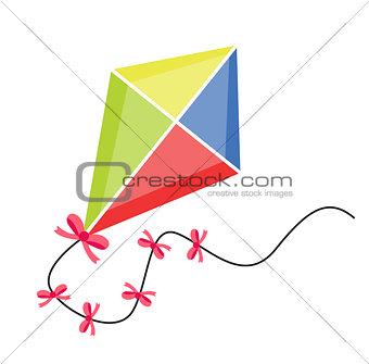 Kite flying. icon flat, cartoon style. Isolated on white background. Vector illustration, clip-art.