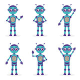 Cartoon mascot robot, robot character. Robot in different poses. Robot mascot logo. Vector illustration.
