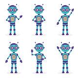 Cartoon mascot robot, robot character. Robot in different poses. Robot mascot logo. Vector illustration.