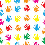 Children s hands, hand prints seamless texture. Children s palms background wallpaper. Vector illustration.