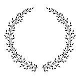 hand drawn wreath with leaves