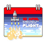 Vector illustration of International day of human space flight.
