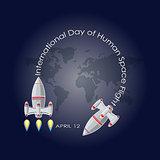Vector illustration of International day of human space flight.
