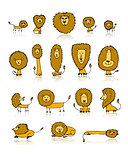 Funny lions set, sketch for your design