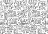 Ornate elephants, seamless pattern for your design