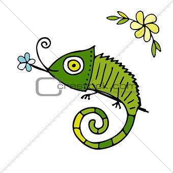 Chameleon cartoon, sketch for your design