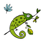 Chameleon cartoon, sketch for your design