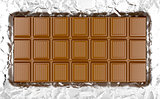 Chocolate bar on aluminum foil