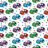 Children s toy car seamless texture. Car background, children s wallpaper. Vector illustration