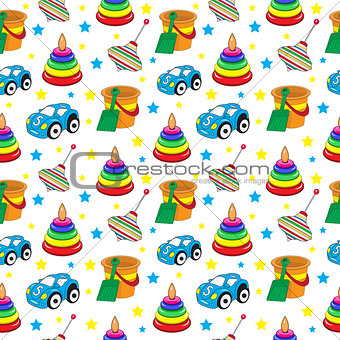 Baby toys seamless texture, children's wallpaper, background. Vector illustration.