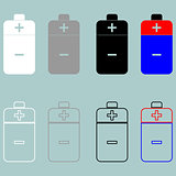 Battery white grey black blue and red icon.