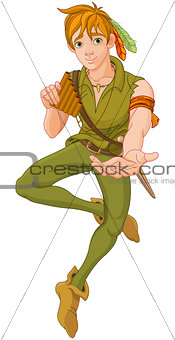 Boy Wearing Peter Pan Costume