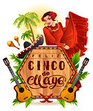 Cinco de Mayo lettering text and woman greeting card