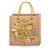 Shopping bag and cute colorful baby icon.