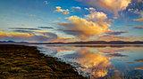 Panorama of Song Kul lake at the dawn Kyrgyzstan