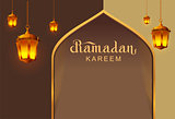 Ramadan Kareem lettering text template greeting card