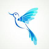 Blue flying tropical bird.