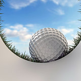 golf ball approaching hole