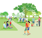 City park in summer with families during the recreation