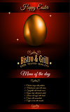 Restaurant Menu template for 2017 Easter celebration with a Golden egg