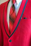 red tuxedo with necktie