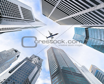 Business towers and aircraft