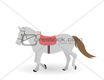 Gray horse on White Background. Vector Illustration.