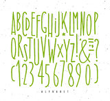 Alphabet straight green lines font