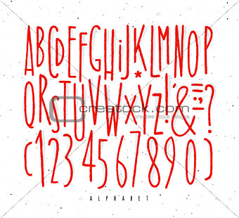 Alphabet straight red lines font