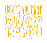 Alphabet straight yellow lines font