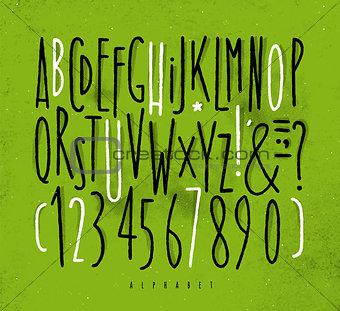 Alphabet straight lines font green