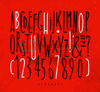 Alphabet straight lines font red