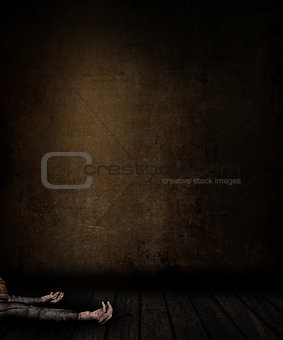 3D grunge room interior with female laying on floor