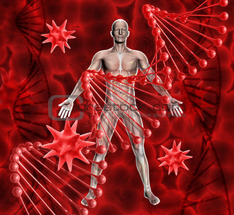 3D medical background with male figure, DNA strands and virus ce