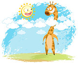 Giraffe and sun