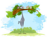Bird secretary and sparrows